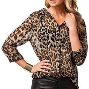 Tops - Sheer leopard print long sleeve chiffon blouse